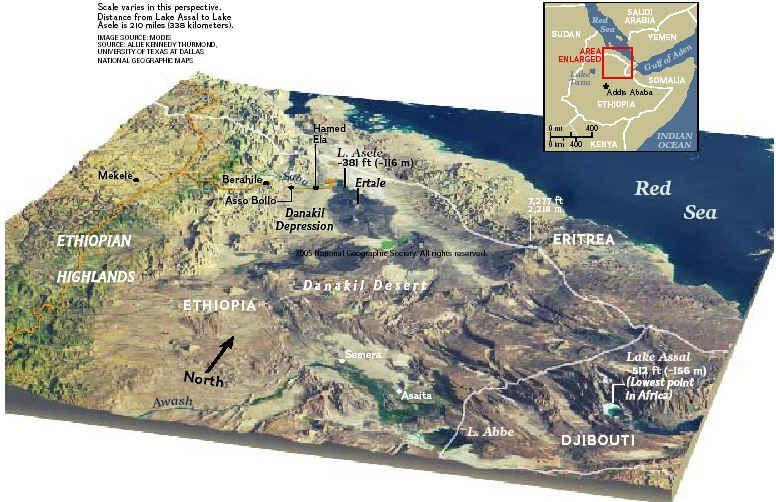 Resultado de imagen de danakil depression map